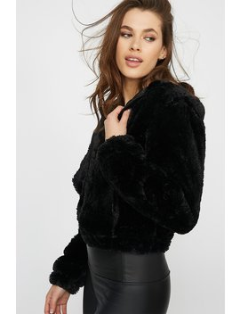 Faux Fur Zip Up Hooded Jacket by Urban Planet