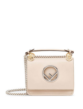 Kan I Small Leather Shoulder Bag With Logo by Fendi