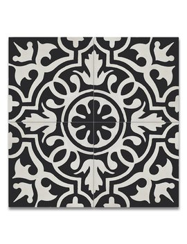 "Moroccan Mosaic Tile House Baha 8"" X 8"" Handmade Cement Tile In Black/White by Moroccan Mosaic"
