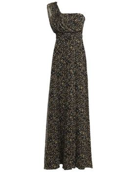 One Shoulder Printed Georgette Gown by Mikael Aghal