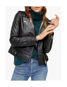 Warehouse Leather Biker Jacket, Black by Warehouse