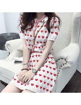 Shopherd   Set: Short Sleeve Heart Pattern Buttoned Knit Top + A Line Knit Skirt by Shopherd