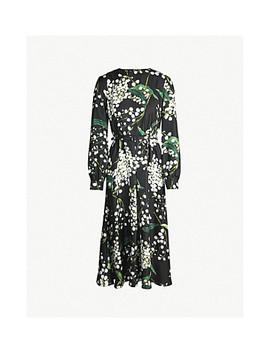 Bloom Print Silk Satin Midi Dress by Oscar De La Renta