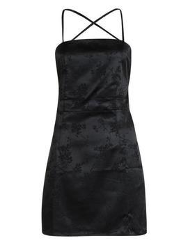 Satin Jacquard Strappy Back Bodycon Dress by Boohoo