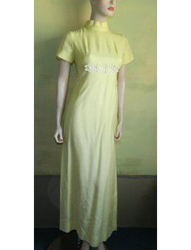 S 50s 60s Vintage Yellow Gown Daisy Chain Prom Dress Wedding Formal Sylvia Ann Label Mad Men by Etsy