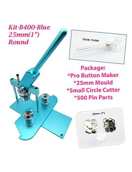 "Chi Buttons (Kit) 25mm(1"") Pro Badge Machine Button Maker B400 + Mould + 500 Parts + Circle Cutter Metric System(Blue) by Chi Buttons"