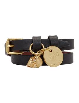 Black & Gold Double Wrap Bracelet by Alexander Mcqueen