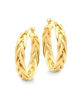 "14 K Yellow Gold Braided Hoop Earrings/2.16"" by Saks Fifth Avenue"