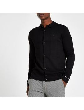 Black Slim Fit Cable Long Sleeve Shirt by River Island