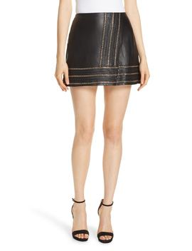 Jaya Chain Detail Leather Miniskirt by Alice + Olivia