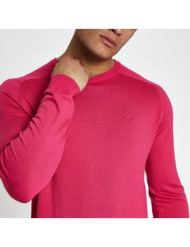 Bright Pink Slim Fit Crew Neck Sweater by River Island