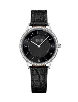 Slim D'hermes Watch With Diamonds & Black Alligator Strap, 0.47tcw by Hermès