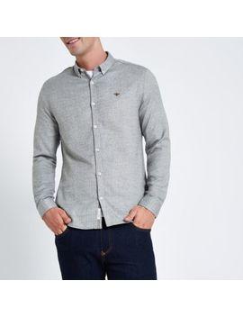Grey Herringbone Wasp Button Down Shirt by River Island