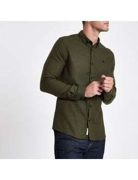 Khaki Wasp Embroidered Long Sleeve Shirt by River Island