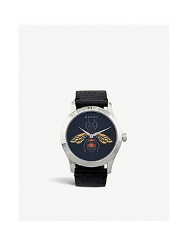 Ya1264067 G Timeless Gold Pvd And Leather Watch by Gucci