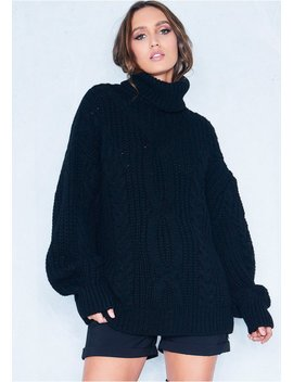 Francesca Black Cable Knit Roll Neck Oversized Jumper by Missy Empire