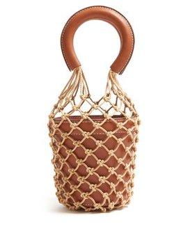 Moreau Mini Macramé And Leather Bucket Bag by Staud