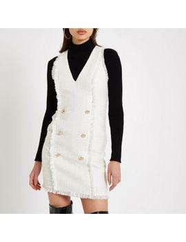 White Boucle Mini Bodycon Dress by River Island