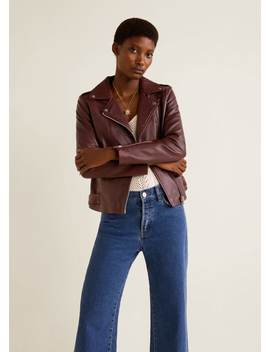 지퍼 가죽 바이커 재킷 by Mango