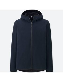 Men Wind Proof Fleece Long Sleeve Full Zip Hoodie by Uniqlo