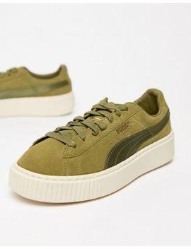 Puma Suede Platform Satin Sneaker In Olive by Puma