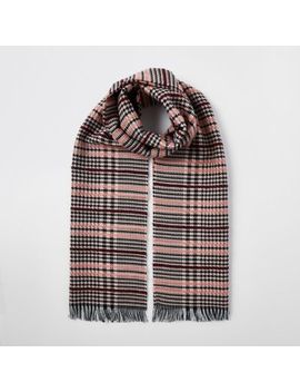 Pink Boucle Check Scarf by River Island
