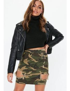 Khaki Camo Ripped Denim Mini Skirt by Missguided