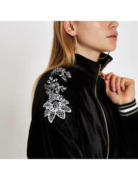 Black Floral Embroidered Loungewear Jacket by River Island