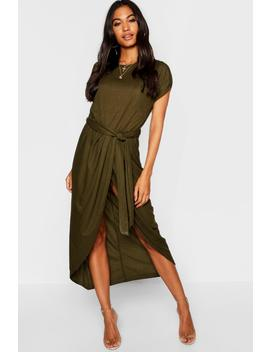 Tie Waist Wrap Front Midaxi Dress by Boohoo
