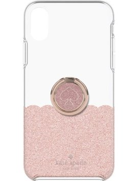 Hardshell Case + Ring For Apple® I Phone® Xs Max   Rose Gold Glitter/Clear by Kate Spade New York