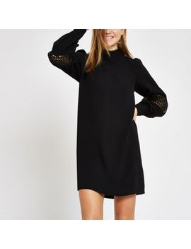 Black High Neck Long Sleeve Swing Dress by River Island