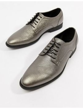 Asos Design Lace Up Dress Shoes In Silver Faux Leather by Asos Design