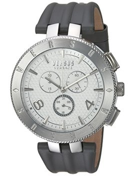 Versus By Versace Men's 'logo Gent Chrono' Quartz Stainless Steel And Leather Casual Watch, Color:Grey (Model: S76070017) by Versus By Versace