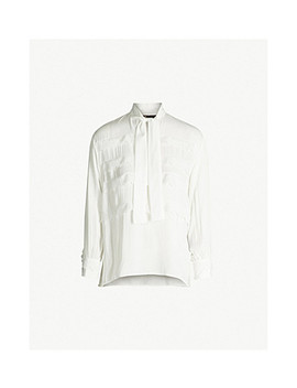 Pussy Bow Lace Trimmed Woven Top by Maje