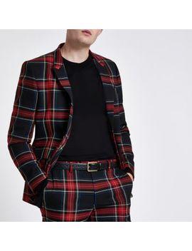 Red Check Skinny Fit Blazer by River Island