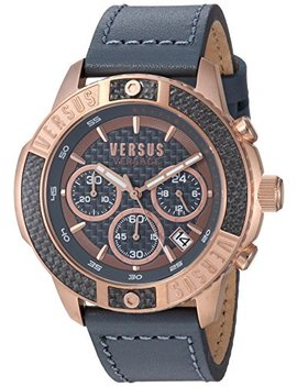 Versus By Versace Men's 'admiralty' Quartz Gold Tone And Leather Casual Watch, Color:Grey (Model: Vsp380317) by Versus By Versace