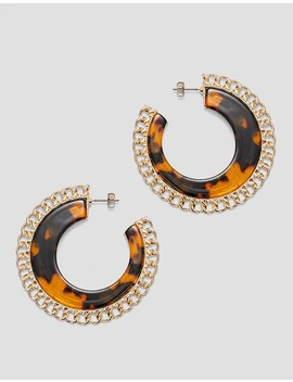 Tortoiseshell And Chain Hoop Earrings by Stradivarius