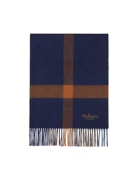 Large Check Lambswool Scarf by Mulberry