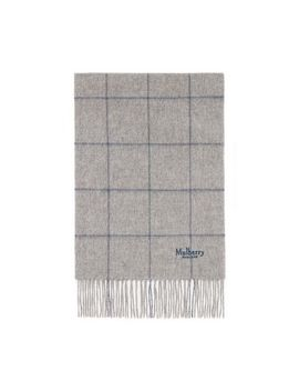Small Windowpane Check Lambswool Scarf by Mulberry