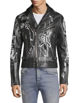 Dbg Graffiti Leather Moto Jacket by Diesel Black Gold