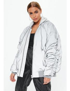 Silver Oversized Reflective Bomber Jacket by Missguided