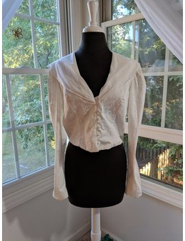 90s White Blouse, 90s Does Victorian, Edwardian, Button Up White Blouse, Ruffled Front by Etsy