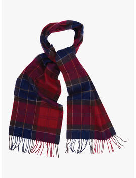 Barbour Holden Tartan Lambswool Cashmere Scarf, Red by Barbour