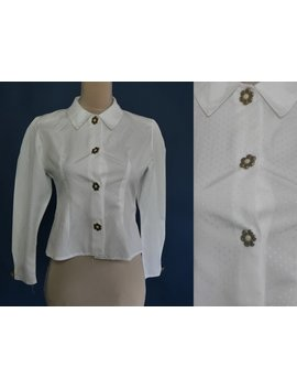 White Vintage иlouse From 1980s With Long Sleeves, Simple Collar And Nice Flowers Buttons Medium by Etsy