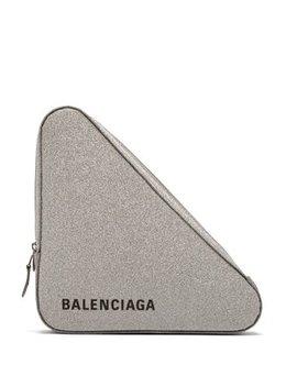 Triangle Pochette M Glittered Leather Clutch by Balenciaga
