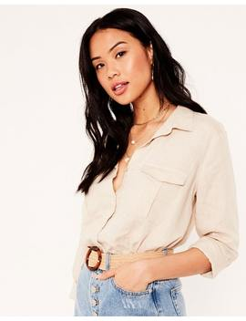 Linen Blend Cargo Shirt by Glassons
