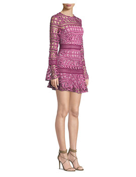 Caprice Long Sleeve Floral Lace Short Dress by Neiman Marcus