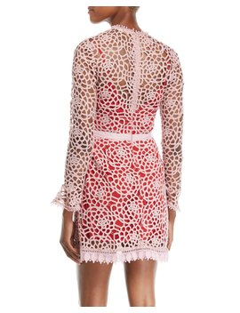 Roseate Lace Long Sleeve Mini Dress by Neiman Marcus