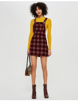 Check Corduroy Pinafore Dress by Topshop