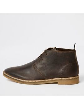 Dark Brown Leather Eyelet Desert Boots by River Island